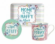 Ashley Thomas Mug, Coaster & Tray Set - Happy Place
